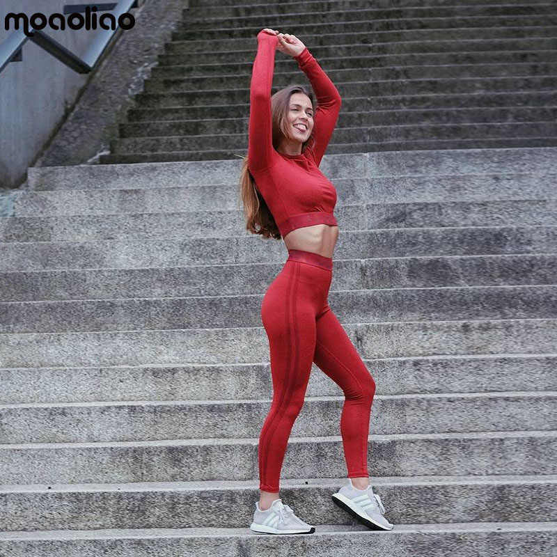 bcab590f4e 2018 Women s Yoga Fitness Leather Pants Suit Moisture Wicking Yoga Clothes Sports  Running Suit