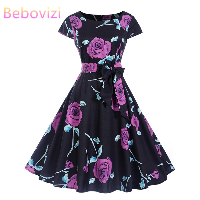 Bebovizi Women Clothes 2019 O-Neck A-Line Casual Office Dresses Short Sexy Party Elegant Flower Print 50s Vintage Bandage Dress