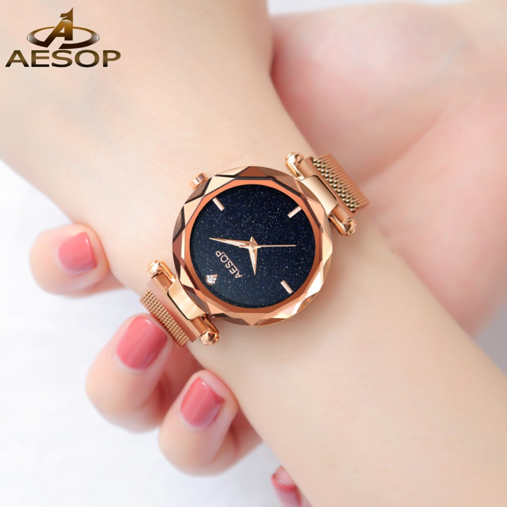 Top Luxury OLEVS Elegant Women Watches Stars Rose Gold Mesh Full Steel Ladies Watch With Sky Dial reloj mujer Female Watch GiftTop Luxury OLEVS Elegant Women Watches Stars Rose Gold Mesh Full Steel Ladies Watch With Sky Dial reloj mujer Female Watch Gift