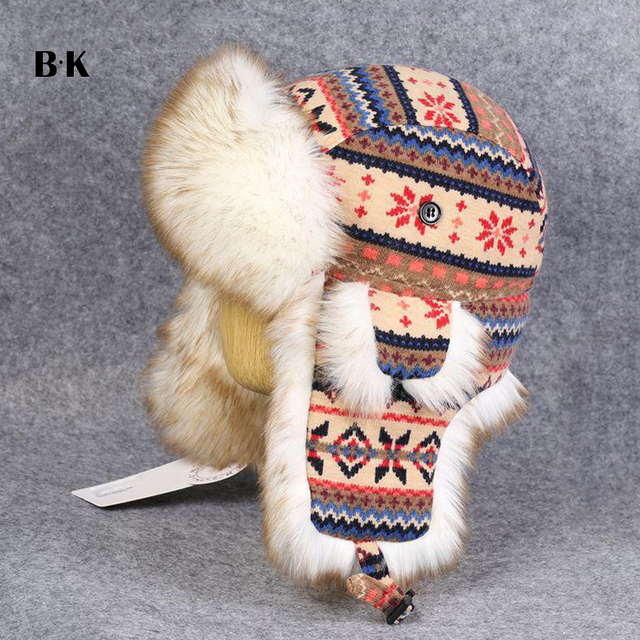e211967aa9c Men Women s Faux Rabbit Fur Trapper Hats Wool Knitted Snowflakes Bomber Caps  Aviator Hats Sport Outdoor Winter Ski Hats