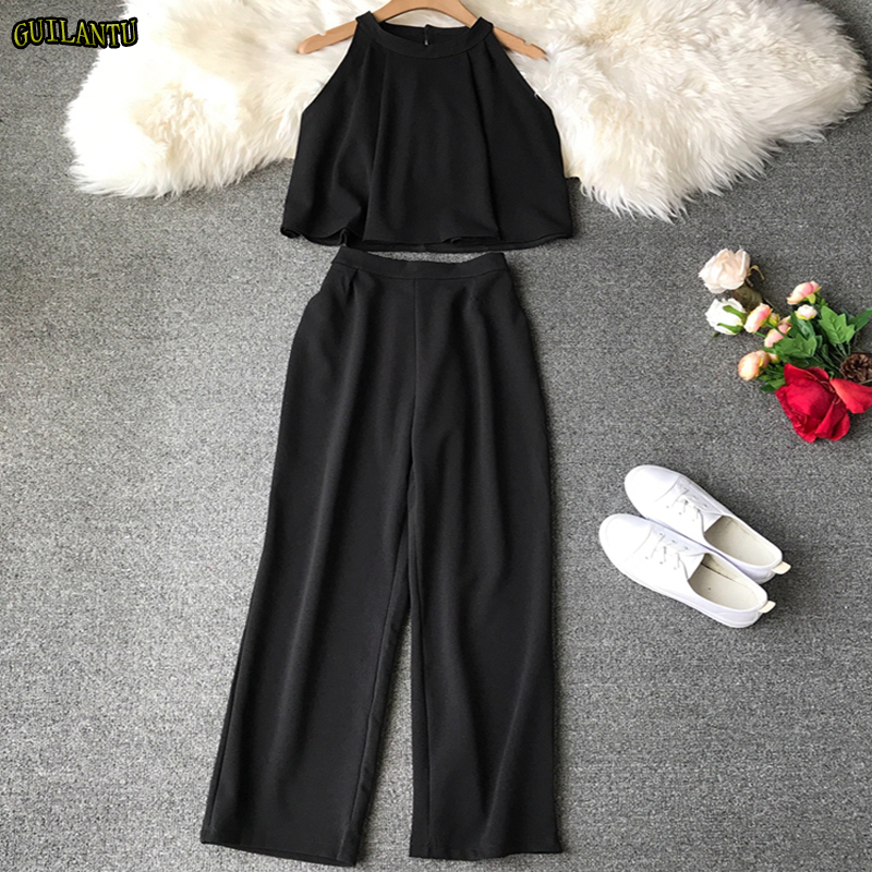 Two Piece Set Women Fashion Sexy Short Top And Long Pants Casual Sleeveless Elastic High Waist Female Summer Festival Clothing