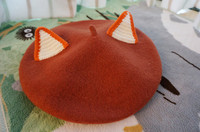 Womens Warm Cat Ear Knitted Beanie Hat Girls Wool Ski Cap Beret Handmade Lolita Hats
