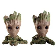 купить Vinyl Baby Groot Flowerpot Pen Pot Holder Plants Flower Pot Cute Action Figures Toys for Kids Gift Desktop Decoration дешево