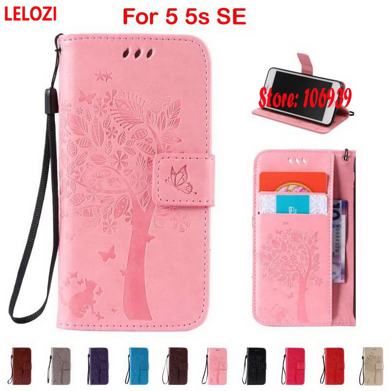 LELOZI Tree Star Cat Butterfly PU Leather Leathe Book Wallet Walet Lady Case Cover shell For iPhone 5 5s SE Grey Pink Rose