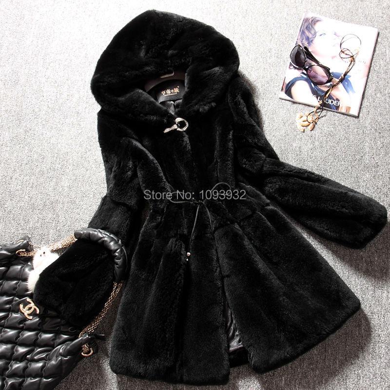Hiver Grande Taille Décontracté femme Fausse Fourrure Manteaux Moyen-long Manteau De Fourrure De Lapin et Vestes à capuche Pour Les Femmes manteaux d'hiver Noir