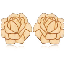 1Pair Africa New Design Wooden Earrings For Women Carving Flower Wood Ear Stud Earring Jewelry Bijouterie brincos E1363-T2