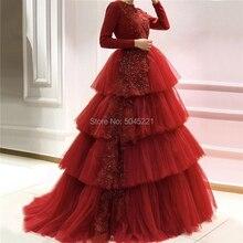 Мусульманское бальное платье многоуровневые вечерние платья, украшенные бисером красные длинные Vestidos ручной работы арабский, Ближний Восток вечернее платье для выпускного вечера Abendkleider