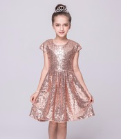 New Short Sleeve Shining Girls Summer Baby Princess Party Tutu Dresses Kids Clothes AQ510DS 09R