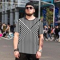 2018 New Summer Men Zebra Stripes T Shirt Black White Casual Tees Plain O Neck Short