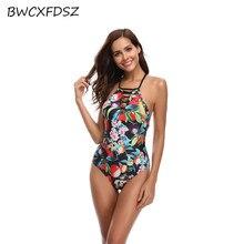 купить BWCXFDSZ One Piece Swimwear Female Triquini Print Swimsuit Bathing Suit Bandage Backless Monokini Women Beach Swim Wear Bodysuit по цене 1354.73 рублей