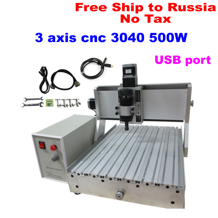 Russain no tax! Wood Acrylic 500W CNC Router Engraver Engraving Milling Drilling Cutting Machine CNC 3040 USB port 3d cnc router cnc 6040 1500w engraving drilling milling machine cnc cutting machine 110 220v