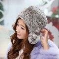 Gorritas Tejidas hechas a mano de Punto Natural de Piel de Conejo Rex Sombreros Mujer Casquillos Calientes del Invierno Cálido sombrero de piel Universal embutidoras de la media para las mujeres