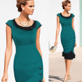 2016 Womens Elegant Formal Button Tunic Prom Work Evening Party Formal Work Bodycon Mermaid Midi Pencil Wiggle Dress