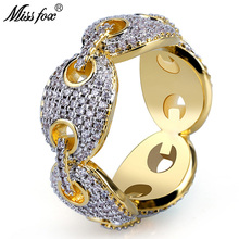 HOT!!! Hip Hop Oval Link Personalized Men Rings Hot Sale Cubic Zirconia Ring Best Selling 2018 Products 18k Gold Luxury Jewelry