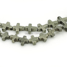 Natural Pyrite Cross Loose Beads Strand For Making Bracelets Or Necklaces Jewellery Approx 15.5 Inch