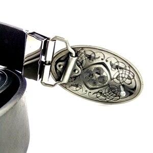 Image 5 - Keltischen knoten Stil vintage Herren leder gürtel oval gürtel schnalle metall cowboy gürtel für jeans Schwarz PU leder gürtel männer hohe qualität