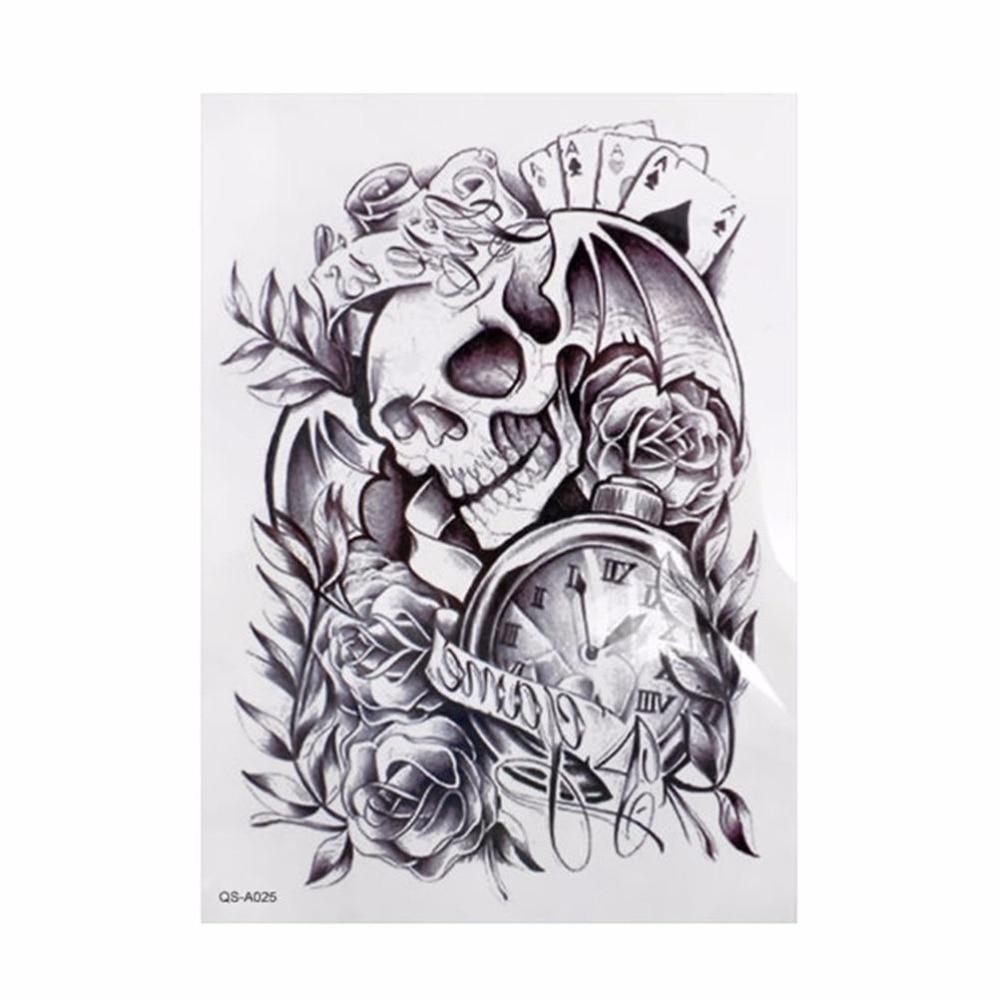 24 Black And White Tattoo Designs Ideas: 1PCS Black Large Removable Skull Tattoo Clock Fashion