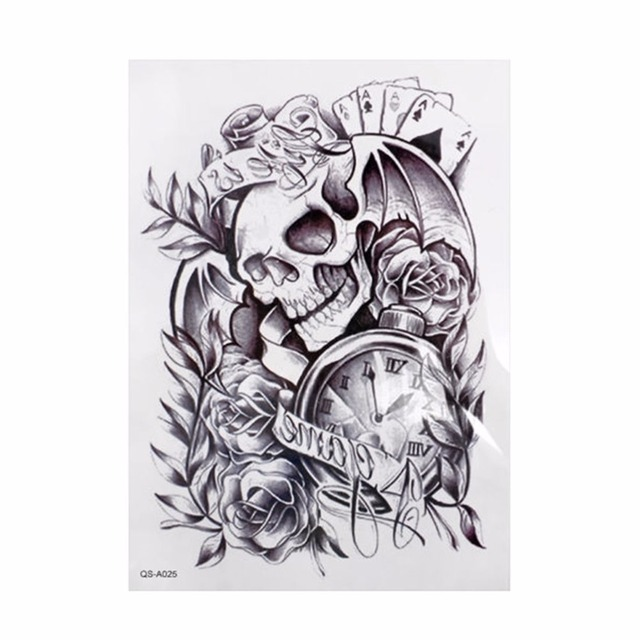 Us 0 35 16 Off 1pcs Black Large Removable Skull Tattoo Clock Fashion Waterproof Temporary Body Arm Sexy Tattoo Stickers In Temporary Tattoos From