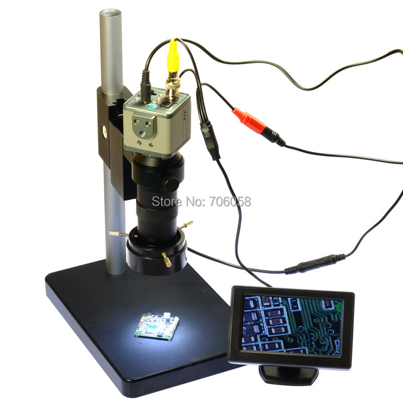 "800TVL 130X Microscope Industrial Camera BNC/AV Output + 4.3"" LCD Monitor + Stand Holder + C-Mount Lens + 40 LED Ring light"