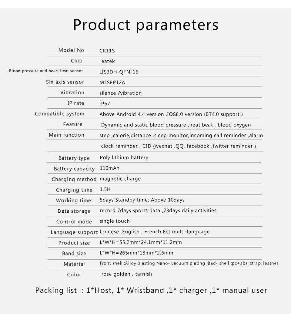 Inteligente Pulseira Bluetooth Monitor de Pressão Arterial