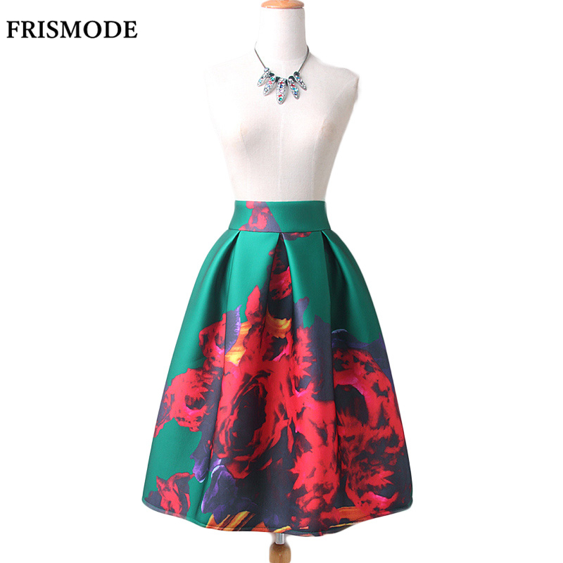FRISMODE Vintage Ball Gown Women Skirt Green blue black Flame Print Spring Autumn Winter Thick Space Cotton Female tutu Skirts