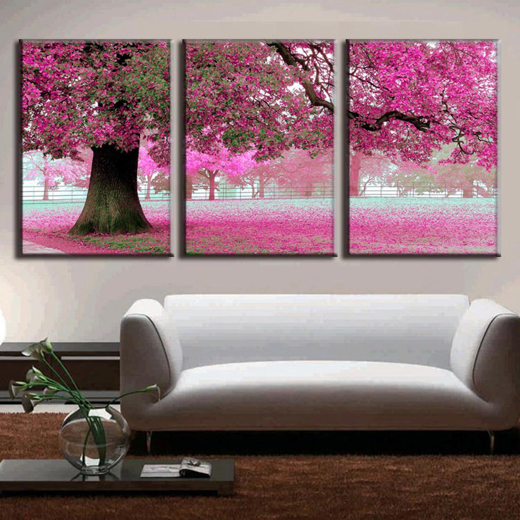 3 pcs set discount framed paintings modern landscape canvas print pink strewn petal canvas wall - Home decorators discount code paint ...