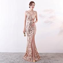 Corstory Elegant Women Rose Gold Sequin Sexy V-Neck Sleeveless Side Club Party  Dress b56290146b1d