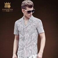 Fanzhuan مميزة ماركات الأزياء الجديدة 2017 الرجال قميص الذكور شريطية قميص قصير الأكمام قمصان رجالي عارضة زائد كبيرة حجم الآسيوية حجم