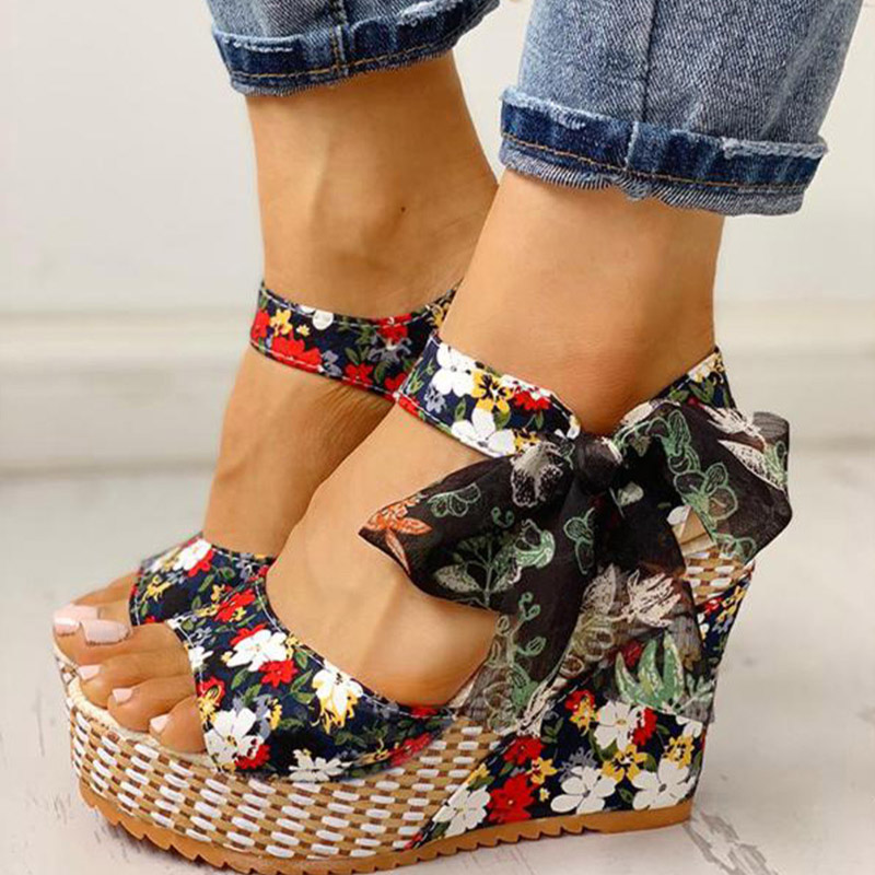 Women Sandals Platform Wedge Ankle-Strap High-Increas-Shoes Open-Toe Bowknot-Design Female title=