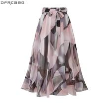 2020 Streetwear Estate Delle Donne Gonna A Vita Alta Elastica Jupe Femme 4XL 5XL Più Il Formato Gonne Midi Rosa Nero Arco di Stampa gonna floreale