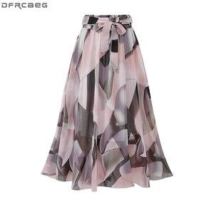 Image 1 - 2020 Streetwear Frauen Sommer Rock Elastische Hohe Taille Jupe Femme 4XL 5XL Plus Größe Röcke Midi Rosa Schwarz Bogen Druck floral Rock