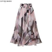 Женская уличная юбка, эластичная юбка с высокой талией, 4XL 5XL размера плюс, розовая, черная юбка миди с цветочным принтом и бантом, 2020