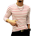 2016 Новая Мода Футболки для Мужчин Майка Осень Случайные Мужской Полосатый мужчины Slim Fit Trend Длинным Рукавом мужская Майка Плюс Размер 5XL