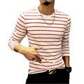 2016 Novas Camisas Da Forma T Dos Homens T Camisa Outono Menswear Ocasional Listrado homens Slim Fit Tendência De Manga Comprida Camisa de T dos homens Plus Size 5XL