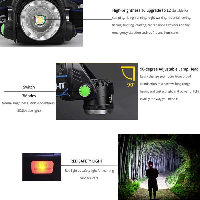 Đèn Pha 6000 Lumens LED L2/T6 Phóng To Đầu Đèn Pin Đèn Pin Đèn Đội Đầu Đến Năm 18650 Pin Dành Cho Câu Cá săn Bắn