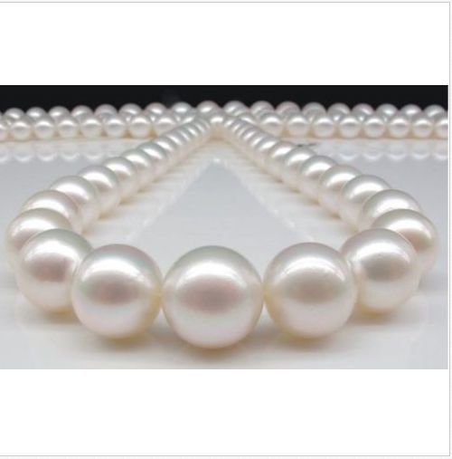 """HUGE GENUINE AAA 18""""10.5-12MM NATURAL freshwater WHITE PEARL NECKLACE 925silver"""