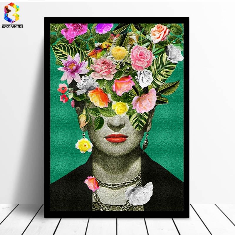 Frida Kahlo Floral Druck Kunst Leinwand Gemälde Poster, Blume Wand Bild für Wohnzimmer Selbst Porträt