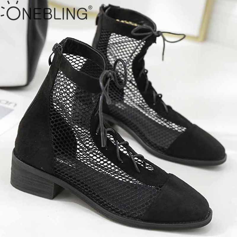 OneBling Mesh Patchwork Square Mid Heel Women Ankle Boots 2019 Summer Breathable Lace Up Zipper High