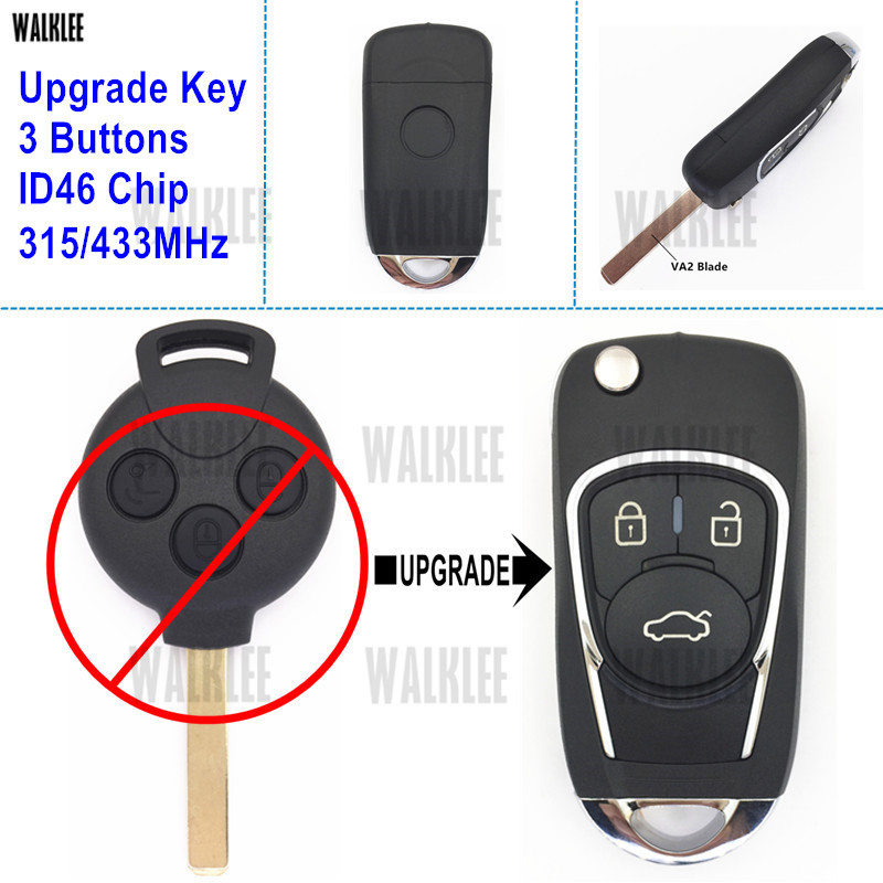 WALKLEE Flip Folding Remote Key Upgraded for Mercedes-Benz Smart Fortwo 451 315MHz or 433MHz 2007-2015
