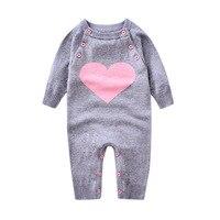 Baby Sweater Overalls Wool Warm Bodysuits 2017 New Autumn Winter Newborn Lovely Heart Jumpsuit Baby Girl