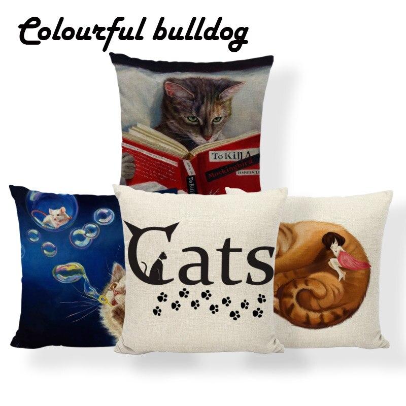 Cat Little Girl Animal Cushion Pillow Mouse Flowers Halloween Pillowcases Simple Bedroom Decor Throw Pillow 45X45Cm Cotton Blend