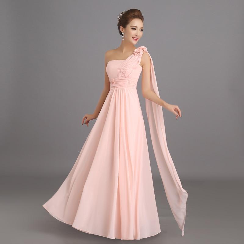 Peachy Pink vestido de dama de gasa larga invierno barato baile de ...