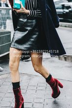 2016 fashion velvet boots Women's Platform Block Heel Boot Coolest Velvet Shoes For Fall Winter black burgundy velvet  boots