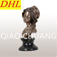 Creative European Style Double Cap Girl Figures Imitation Cuprum Head Portra Craftwork Living Room Decoration G1312
