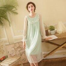 45a6d15643 Autumn Cotton Long Lace Nightgowns Women Vintage Romantic Sleepwear Dress.  US  30.15   piece Free Shipping
