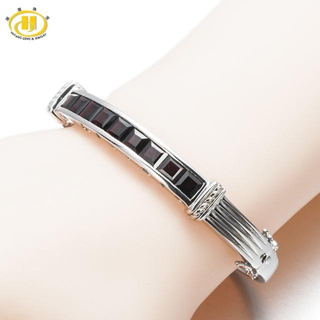 "7.38Ct Hutang Preto Natural Garnet Pulseira Sólida 925 Sterling Silver Real Gemstone Fine Jewelry Presente das Mulheres 6.75"""