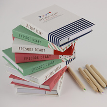1 PC Novelty Hard Cover Mini Notebook Episode Diary Book Dual Note Pad Sticky Notes With Ballpoint Pen