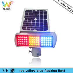 Construction Site Solar Powered Red Amber Blue Safety Warning Flashing Light