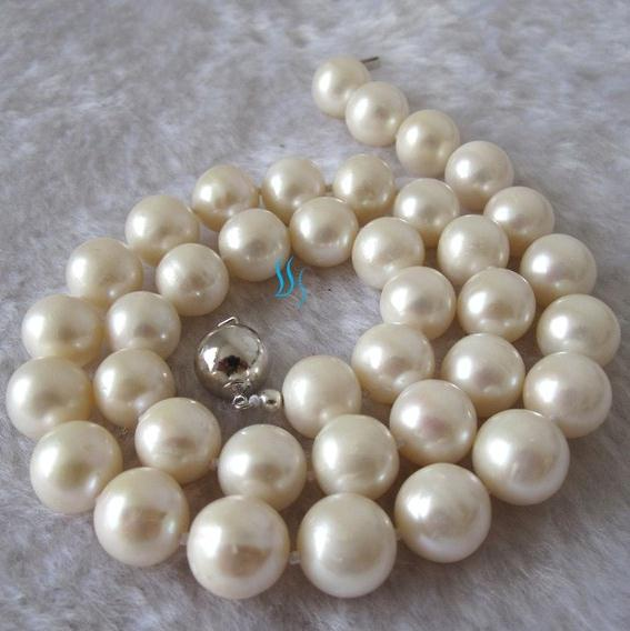 Big Size Pearl Jewelry Set 17 Inches 11-12mm White Nearly Round Freshwater Pearl Necklace Free Pair Earrings HandmadeBig Size Pearl Jewelry Set 17 Inches 11-12mm White Nearly Round Freshwater Pearl Necklace Free Pair Earrings Handmade