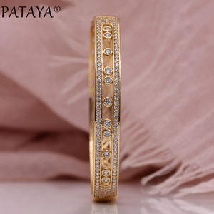 Image 3 - を PATAYA 新中空花びら女性腕輪 585 ローズゴールド婚約ファッションジュエリーラウンド精天然ジルコン高級対称バングル